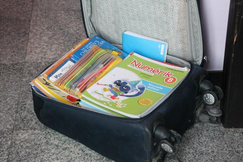 La valise de livres.  Elle pèse une tonne mais on ne pourrait s'en passer!